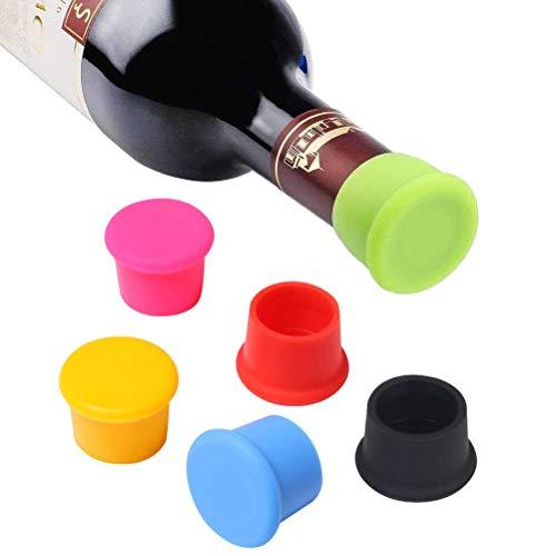 Vicloon Packung mit 6 Silikon Kronkorken, Weinflasche Caps/Bier Sealer Abdeckung, Reusable