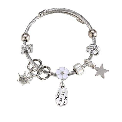 Bracelet de couche acrylique, Malloom Risers de bracelet en alliage de strass perle pour les femmes (Blanc)