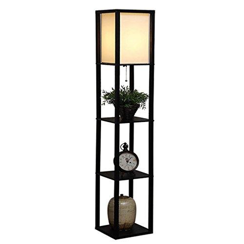 MENA HOME- Regal Stehleuchte Hängende Perlen Schalter Massivholz Spalte Kreativ Modern Einfach Vertikale Regal Chinesische Wohnzimmer Schlafzimmer Stehleuchte (Farbe : Schwarz) (Chinesische Stehlampe)
