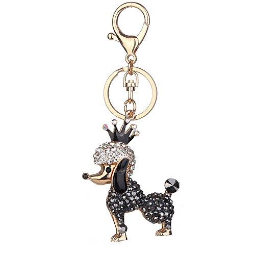 n Lovely Pudel Hund Strass Kristall Schlüsselanhänger Handtasche Anhänger Charm Schlüsselanhänger Geburtstag Geschenk, schwarz (Pudel Handtasche)