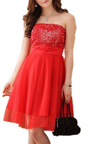 SHUNLIU Abendkleid Cocktailkleid mit Chiffon Tüll in rosa, weiß , rot Rot