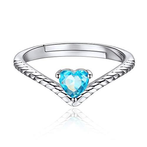 12 Monate Geburtstagsserie Dezember Türkis, Herz Liebe Ehering Ring 925 Sterling Silber ... (Russische Eheringe)