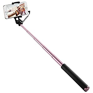 Spigen Selfie Stick, [Battery Free][No Bluetooth][Extendable Holder] Selfie Stick Cable Wire Control Selfie Sticks for iPhone, Samsung, Google, OnePlus, Huawei, HTC, Honor & more - S530 Black