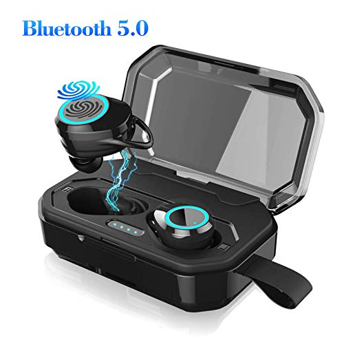 EEEKit True Wireless-Ohrhörer, X6 TWS-Bluetooth-Ohrhörer, 3D-Stereo-Sound & Deep Bass, IP6X-wasserdichtes Sport-Headset mit 3000mAh-Ladebox, Touch-Control, Atemlicht, integriertes Mikrofon, Schwarz Bluetooth-wireless-headset-kit
