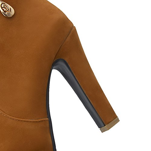 VogueZone009 Donna Cerniera Tacco Alto Bassa Altezza Stivali con Ornamento Di Metallo Cammello