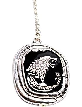 Game of Thrones ,Direwolf Haus der Stark ,Anhänger Halskette Gravierte