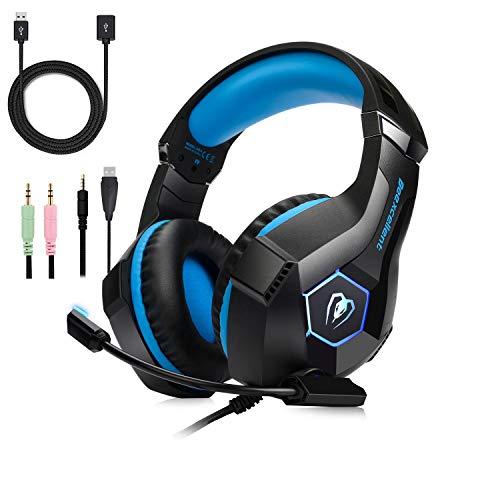 Sporzin Gaming Headset für PS4 PC Pro Xbox One mit Mikrofon und Rauschunterdrückung PS4Headset On Ear für Nintendo Switch Laptop Mac Handy Tablet LED Kopfhörer Blau