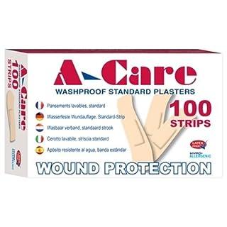 A-Care Washproof Plasters - 72mm x 19mm (100 Standard Strips per box) - Latex-Free
