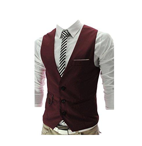 Anzug Weste Schwarze Männer Fallen Schlanke Business Casual Große Größe Anzug Weste (red, XXXXL)