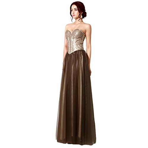 Sarahbridal Damen Kleid Gold & Brown