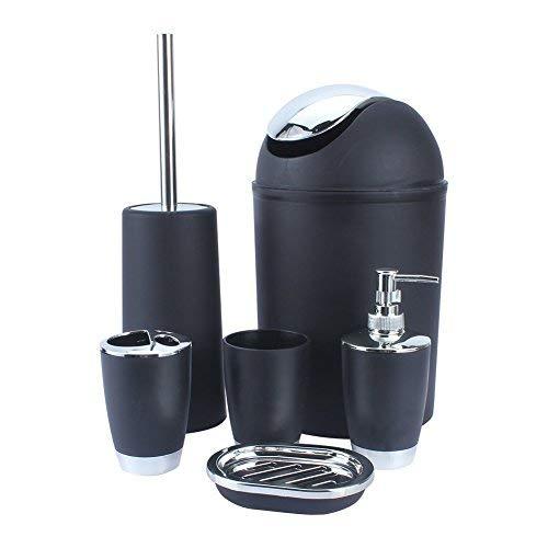 Set da bagno da 6 pezzi, cestino, porta saponetta, distributore di sapone liquido, bicchiere, porta spazzolini e spazzolone Black