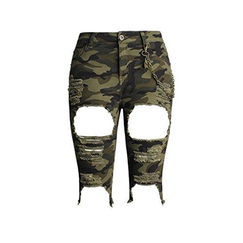 Damen Shorts Hohe Taille Stretch Denim Jeans Clubwear Kleidung Lose Heiße Hosen Floral Camouflage Medium Löcher . Green . 32