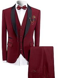 Sliktaa Homme Costume Élégant 3 Pièces avec Un Bouton Tuxedo Slim Fit  Classique d affaires Mariage Bals Veste+Gilet+Pantalon en… 7524de54879