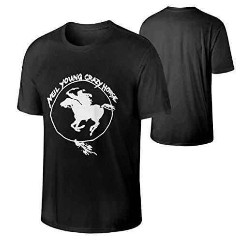 Crazy Horse T-shirt (Men's Neil Young Crazy Horse Vintage T-Shirts Black,Black,Large)