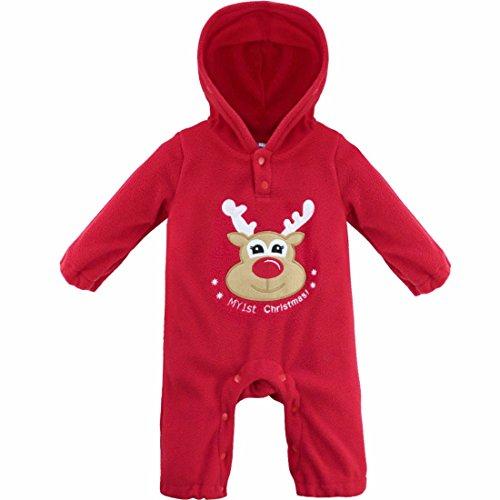 FEESHOW Pelele de Navidad Pijama Invierno para Bebés Niños Niñas Unisex recién nacido Romper manga larga Navidad Mono Infantil (3-18 meses) Reno 6-9 meses