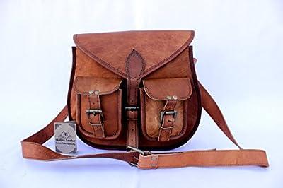 Shakun Leather sac bandoulière en cuir vintage authentique fabriqué à la main pour femmes, double poche frontale