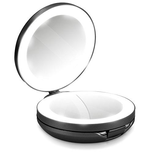 Navaris LED Taschenspiegel Kosmetikspiegel Schminkspiegel - Spiegel mit 10fach Vergrößerung Beleuchtung - Schmink Standspiegel beleuchtet - Schwarz (Hand-spiegel Runde)