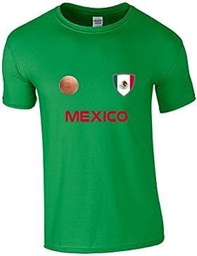 EBUK México COPA DEL MUNDO 2018 Fútbol Retro Informales Camiseta Hombre No Oficial