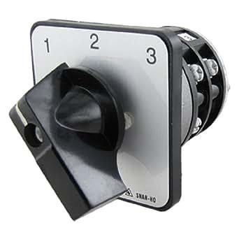 sourcingmap® Électrique 3 Positions Noir Bouton Rotatif Commutation Interrupteur