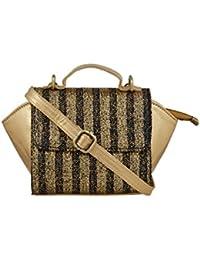 TARUSA Black Faux Leather Fabric Geometric Sling Bag For Women
