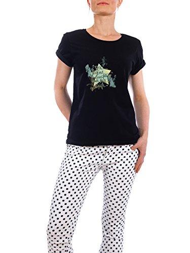 """Design T-Shirt Frauen Earth Positive """"Die Sterne leuchten nur für Dich"""" - stylisches Shirt Typografie Kindermotive Weihnachten von Sylvie Wagner Schwarz"""