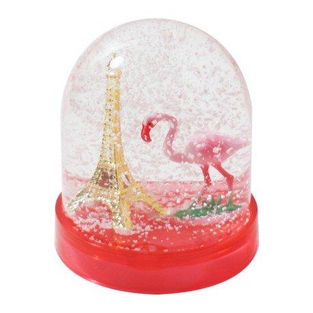 Les Parisettes - Boule à Neige Tour Eiffel Flamand Rose