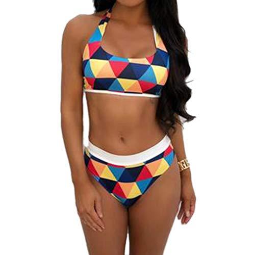 QIYUN.Z Frauen Sexy Dreieck Druck Bikini 2 Stück Badeanzug Bademode Anzug (Blau S) -