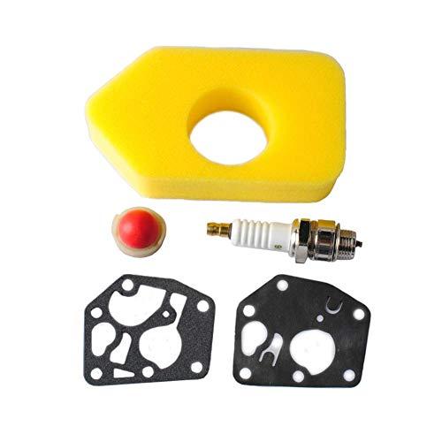 Poweka Neuer Satz Air Filter Luftfilter-Zündkerzen-Dichtungs-Zündkerze für Briggs & Stratton Vergaser Membrane 795083 698369 694394
