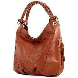 modamoda de - dames italiennes en cuir/cuir Nappa sac à main Z18, Couleur:Cognac