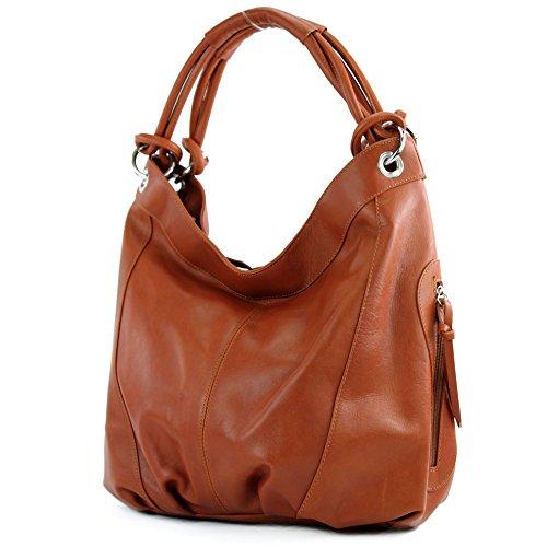 modamoda de - ital. Handtasche Damentasche Schultertasche Ledertasche Tasche Nappaleder Z18 Dunkelcamel