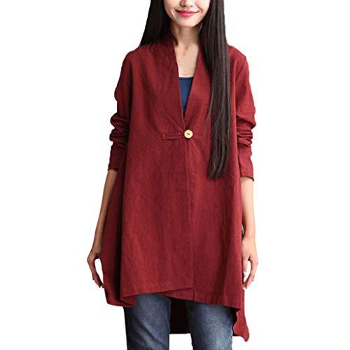 TEBAISE Damen Plus Größe Baumwollleinen Einschultriges Shirt Kleider Herbst Baumwolle Leinen Voller vorderer Knopf Blouse Kleid mit Taschen