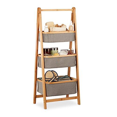 Relaxdays Badregal m. Fächern, Bambus Standregal, 3 Stoffkörbe für Handtücher, faltbarer Wäschesammler, natur-grau