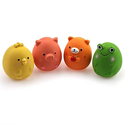 Chiwava 4PCS 2.4'' Squeak Latex Puppy Toy Funny Animal Sets Pet Interactive Play for Small Dog Assorted Color from Wonpet Co., Ltd