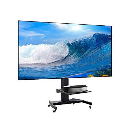 Höhe Einstellbar Tv-wagen (KBKG821 Schwarzer TV-Wagen Mobiler TV-Ständer mit Schwenkhalterung, Rollrädern und Handelsregalen für die meisten 100-120 Zoll flachen, gebogenen Bildschirmfernseher, Höhe einstellbar)