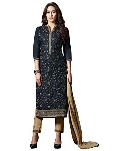 Kvsfab Women's Blue & Brown Cotton Un-stitched Dress Material[KVSSK10002SDRS]