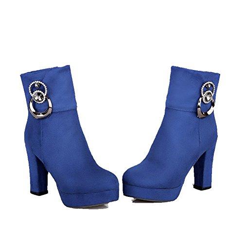 Agoolar Solido Cerniera Colore Stivali Dépolissement Donna Tacco Tondo Blu Con Alto PPwFqzrW5