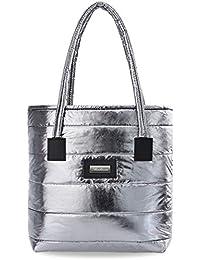 284eb01375429 Gesteppte große Damen Tasche Shopper Bag City Style Handtasche Silber