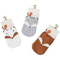 FENICAL 3 pares de calcetines calientes de invierno Cartoon Fox calcetines de terciopelo de coral blando para bebés niños niñas calcetines de niños - tamaño XS