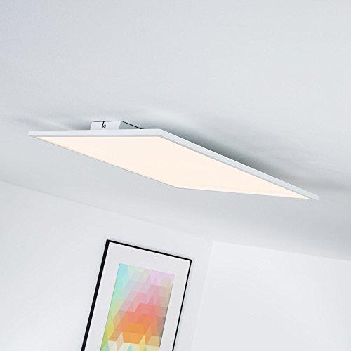 LED Panel 30W Deckenleuchte, 45 x 45 cm eckig, dimmbar mit Lichtschalter, 3000 Lumen, 3000K warmweiß, Metall/Kunststoff, weiß 45 Lumen-led