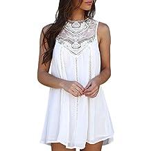Vestidos cortos mujer ☀ Amlaiworld Vestidos de verano 2018 de mujer Sexy Mini vestido de gasa sin mangas de encaje casual para mujer Vestido de fiesta de ...