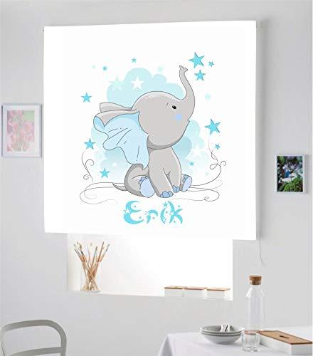 Desconocido Estor Infantil Enrollable TRANSLUCIDO Digital Elefante Erik para Poner TU Nombre¡¡Nuevo Estor Enrollable Infantil con Nombre A Todo Color HABITACION NIÑO (Azul, 120X180)