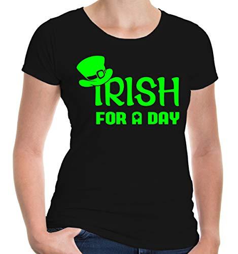 Kostüm Oktoberfest Irland - buXsbaum Damen Girlie Kurzarm T-Shirt Bedruckt Irish for a Day | Irland St. Patrick Green | XXL Black-Neongreen Schwarz