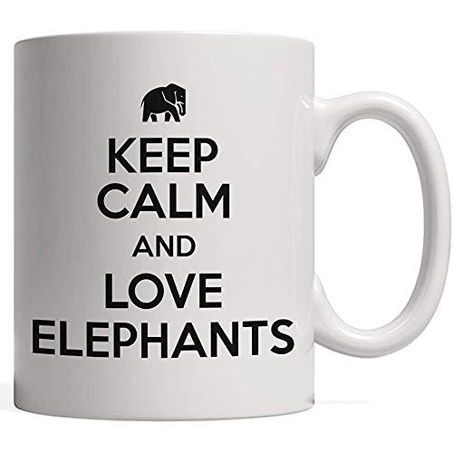 Taza guarda calma y ama la taza de los elefantes   Regalo divertido para los amantes de los animales: ¡para tus amigos que tienen (o les gustaría tener) un elefante mascota!