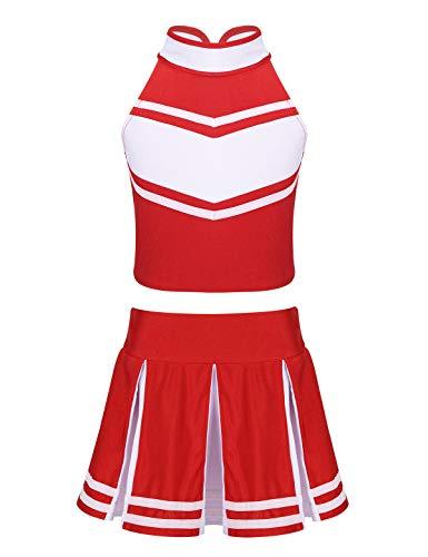 Party Top 10 Kostüm - iiniim Mädchen Cheerleading Cheerleaderin Kostüm Uniform Crop Tops mit Minirock Halloween Karneval Fasching Party Kostüm Gr.116-164 Rot&Weiß 140/10Jahre