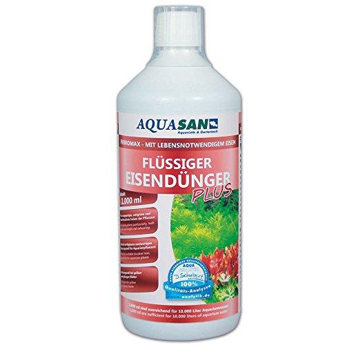 AQUASAN Aquarium FerroMax Flüssiger Eisendünger Plus (GRATIS Lieferung in DE - Versorgt Aquarium Pflanzen mit dem Nährstoff Eisen für sattgrüne, leuchtendrote Farben), Inhalt:1 Liter
