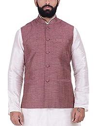 Kisah Cannon Pink Khadi Jaquard Men's Waistcoat