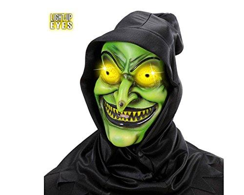 aske (elektrisch) mit leutenen LED Augen Hexenmaske green mit Haube aus Latex ()