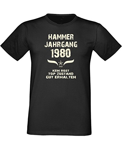 Sprüche Motiv Fun T-Shirt Geschenk zum 37. Geburtstag Hammer Jahrgang 1980 Farbe: schwarz blau rot grün braun auch in Übergrößen 3XL, 4XL, 5XL schwarz-01