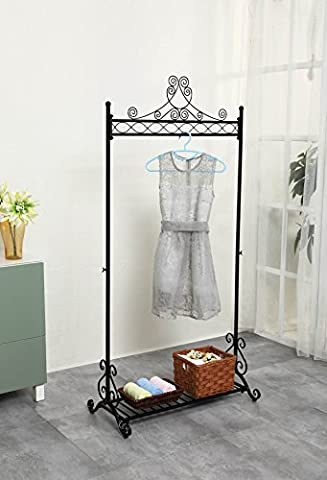 Chic Hanging Clothes Rail Metal Garment Coat Clothing Rack Stand With Shoes Storage Shelf Black