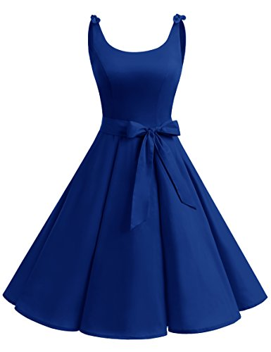 bbonlinedress 1950er Vintage Polka Dots Pinup Retro Rockabilly Kleid Cocktailkleider Royalblue 2XL (Plus Size Up Pin Kleidung)